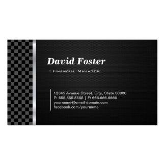 Blanco negro profesional del encargado financiero tarjetas de visita