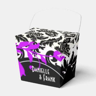 Blanco negro púrpura de Paisley el del damasco d Paquetes De Regalo Para Fiestas