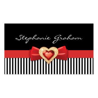 Blanco negro rayado con el arco y la joya rojos tarjetas de visita