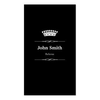 Blanco negro real elegante del árbitro tarjetas de visita