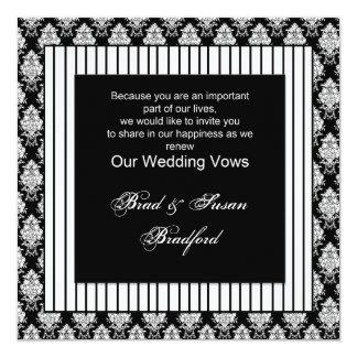 Blanco negro renovado de los votos de boda - comunicados personalizados