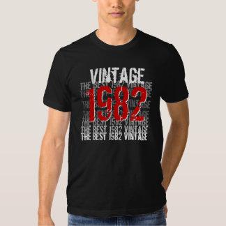 Blanco negro rojo 1982 del trigésimo cumpleaños de remeras
