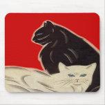 Blanco negro rojo agudo de los gatos del art déco  tapete de ratones