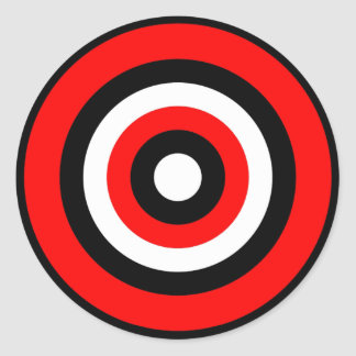 Blanco negro rojo de la diana pegatina redonda