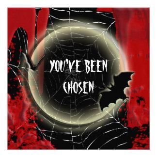 Blanco negro rojo de la luna del palo de Halloween Invitaciones Personales