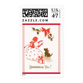 Blanco negro rojo del perro del niño del navidad estampillas