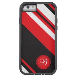 Blanco negro rojo diagonal del monograma rayado funda para  iPhone 6 tough xtreme