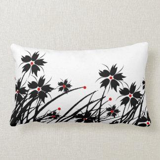Blanco negro rojo floral A de la almohada