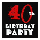 Blanco negro rojo W1071 del 40.o cumpleaños Invitación 13,3 Cm X 13,3cm