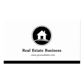 Blanco negro simple del agente inmobiliario tarjetas de visita