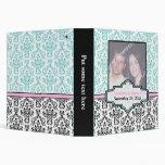 Blanco negro, turquesa, carpeta rosada del boda de