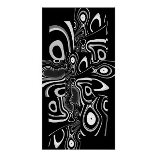 Blanco negro ultra moderno abstracto 3 del poster