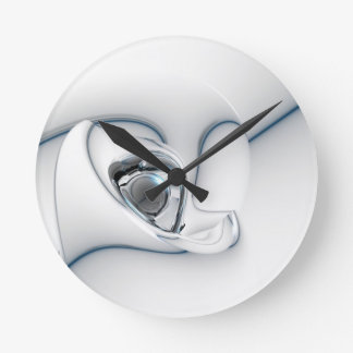 Blanco negro y de plata abstractos reloj redondo mediano