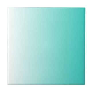 Blanco Ombre de la turquesa Azulejo Cuadrado Pequeño