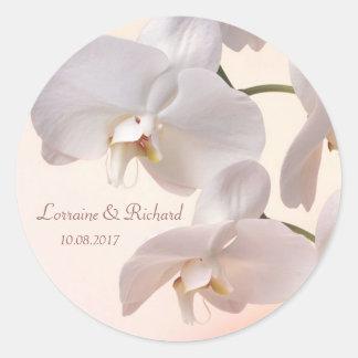 Blanco - orquídeas poner crema que casan al pegatina redonda