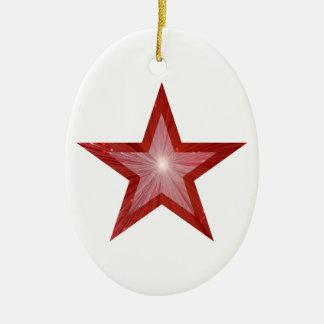Blanco oval de la forma del ornamento rojo de la ornamento para arbol de navidad