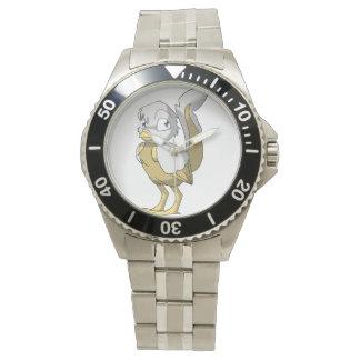 Blanco/pájaro del Reptilian del oro Relojes De Pulsera
