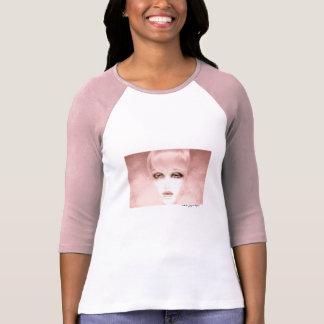 Blanco para mujer del rosa de la camiseta de la ma