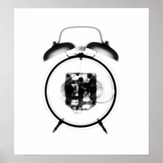 Blanco pasado de moda del negro del reloj de la póster