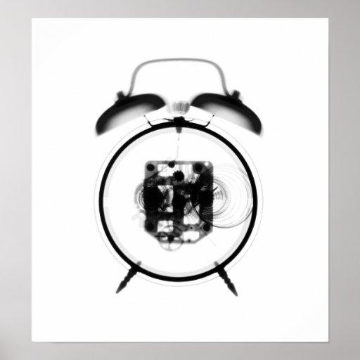 Blanco pasado de moda del negro del reloj de la ra posters