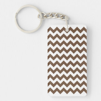 Blanco pequeño y café del zigzag I Llavero Rectangular Acrílico A Doble Cara