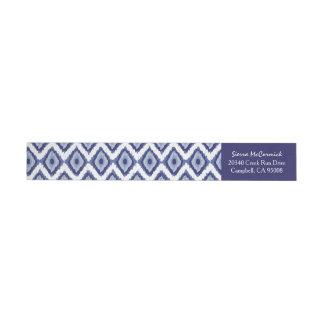 Blanco personalizado Chevron de Ikat de los azules Pegatinas Postales