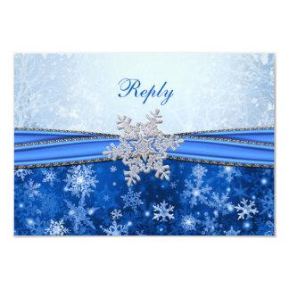 Blanco, plata, copos de nieve azules RSVP Comunicados Personalizados