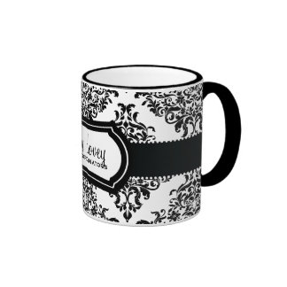 Blanco precioso del negro del damasco de 311 Dovey Tazas De Café