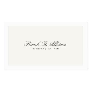 Blanco profesional del abogado elegante simple tarjetas de visita