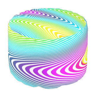 Blanco psicodélico de las ondas coloreado + sus puf redondo
