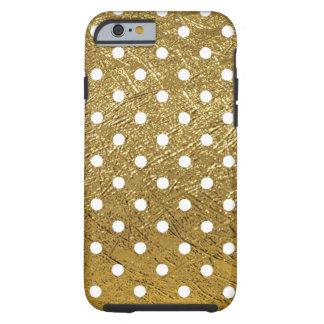 blanco-puntos en color de oro funda de iPhone 6 tough