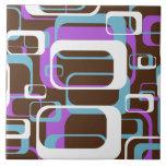 Blanco púrpura de Brown de los cuadrados geométric Azulejo Cerámica