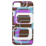 Blanco púrpura de Brown de los cuadrados geométric iPhone 5 Carcasa