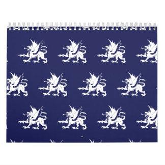Blanco púrpura de los dragones calendario