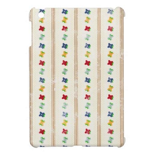 BLANCO PÚRPURA del MORENO de las RAYAS FLORALES de iPad Mini Cárcasas