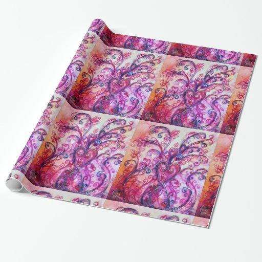 Blanco púrpura rosado brillante de los FLOURISHES Papel De Regalo