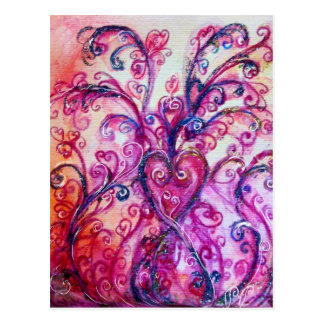 Blanco púrpura rosado brillante de los FLOURISHES  Tarjeta Postal