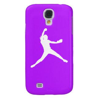 Blanco/púrpura vivos de la silueta de HTC Fastpitc Funda Para Galaxy S4