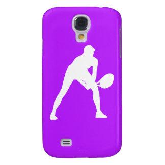 Blanco/púrpura vivos de la silueta del tenis de HT