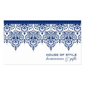 Blanco real de los azules marinos del damasco con tarjetas de visita