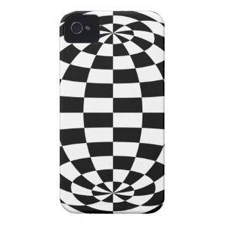 Blanco redondo del negro de los inspectores de la iPhone 4 Case-Mate cobertura