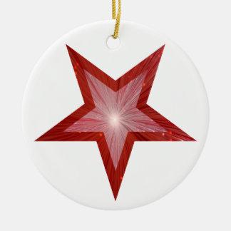 Blanco redondo del ornamento rojo de la estrella ornamento para reyes magos