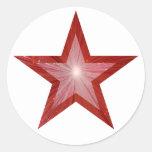 Blanco redondo del pegatina de la estrella roja