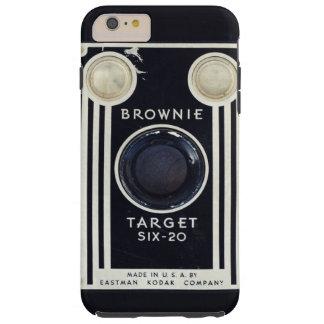 Blanco retra del brownie de la cámara funda de iPhone 6 plus tough