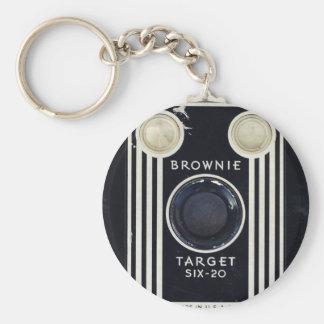 Blanco retra del brownie de la cámara llavero