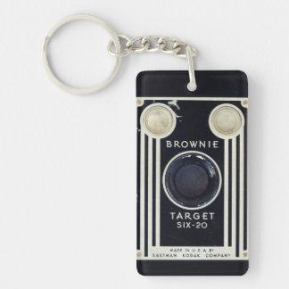 Blanco retra del brownie de la cámara llavero rectangular acrílico a una cara