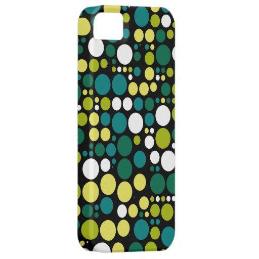 Blanco retro del verde amarillo de los lunares el  iPhone 5 Case-Mate coberturas