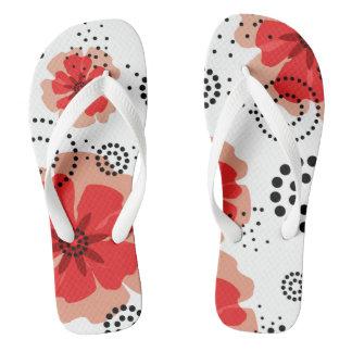 Blanco rojo abstracto de las flores el   de las