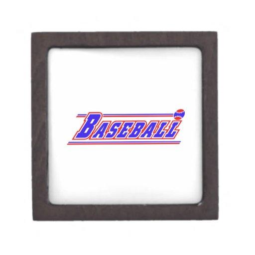 Blanco rojo blue.png del logotipo del béisbol caja de joyas de calidad