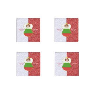 Blanco rojo de la bandera búlgara pelirroja del imán de piedra